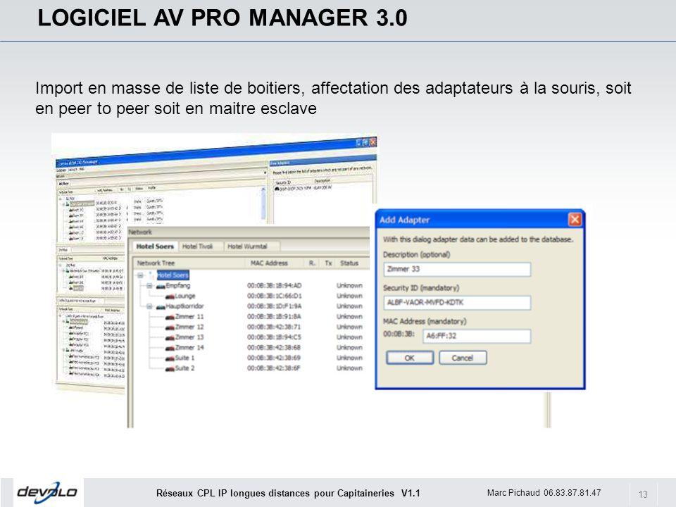 13 Marc Pichaud 06.83.87.81.47 Réseaux CPL IP longues distances pour Capitaineries V1.1 LOGICIEL AV PRO MANAGER 3.0 Import en masse de liste de boitie