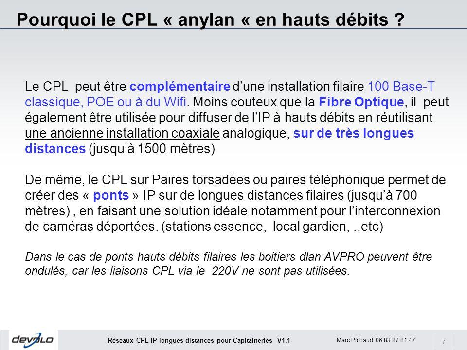 7 Marc Pichaud 06.83.87.81.47 Réseaux CPL IP longues distances pour Capitaineries V1.1 Le CPL peut être complémentaire dune installation filaire 100 B