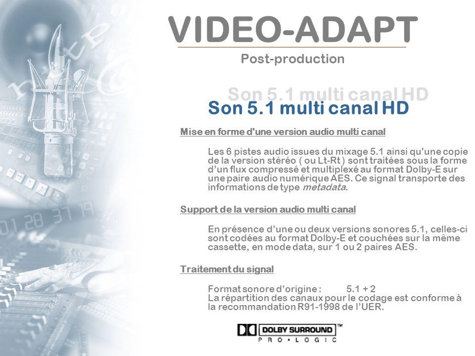 VIDEO-ADAPT Post-production Son 5.1 multi canal HD Mise en forme d'une version audio multi canal Les 6 pistes audio issues du mixage 5.1 ainsi qu'une