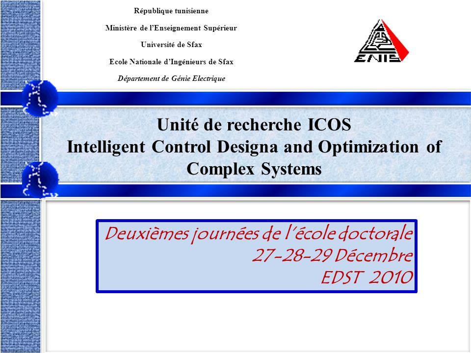 1/15 Dorra SELLAMI MASMOUDIEDST 2010 Unité de recherche ICOS Intelligent Control Designa and Optimization of Complex Systems République tunisienne Min