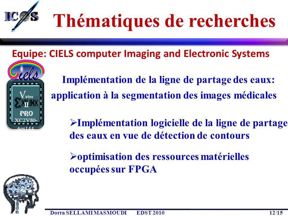 12/15 Dorra SELLAMI MASMOUDIEDST 2010 XC2V80- 6cs144 V irtex II Pro Implémentation de la ligne de partage des eaux: application à la segmentation des