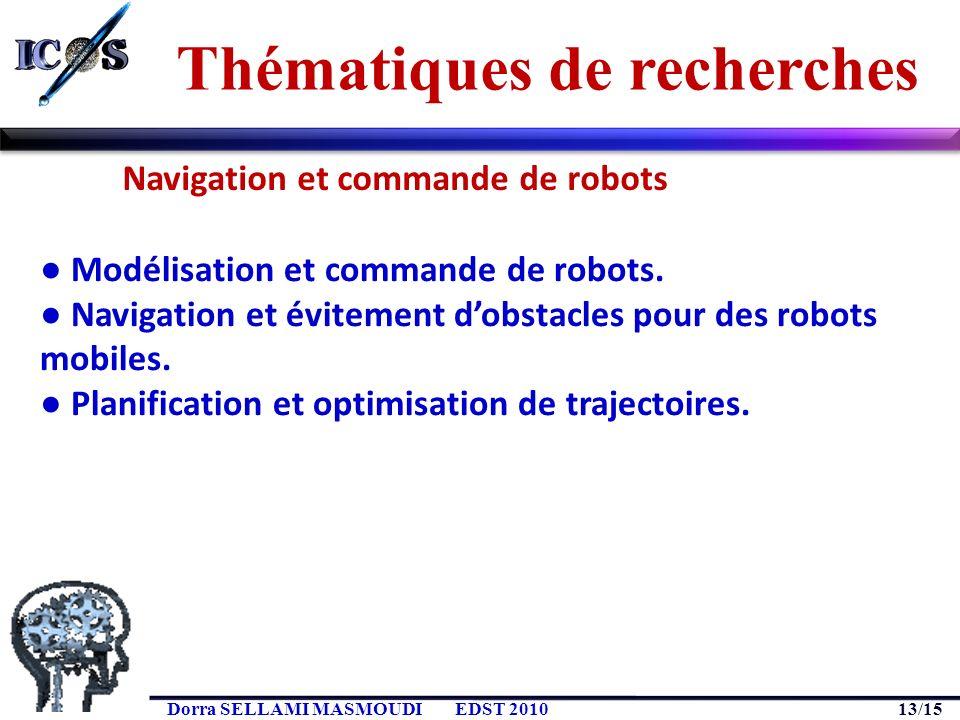 13/15 Dorra SELLAMI MASMOUDIEDST 2010 Modélisation et commande de robots. Navigation et évitement dobstacles pour des robots mobiles. Planification et