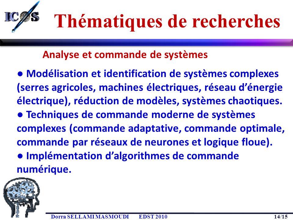 14/15 Dorra SELLAMI MASMOUDIEDST 2010 Modélisation et identification de systèmes complexes (serres agricoles, machines électriques, réseau dénergie él