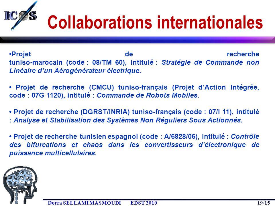 19/15 Dorra SELLAMI MASMOUDIEDST 2010 Collaborations internationales Projet de recherche tuniso-marocain (code : 08/TM 60), intitulé : Stratégie de Co