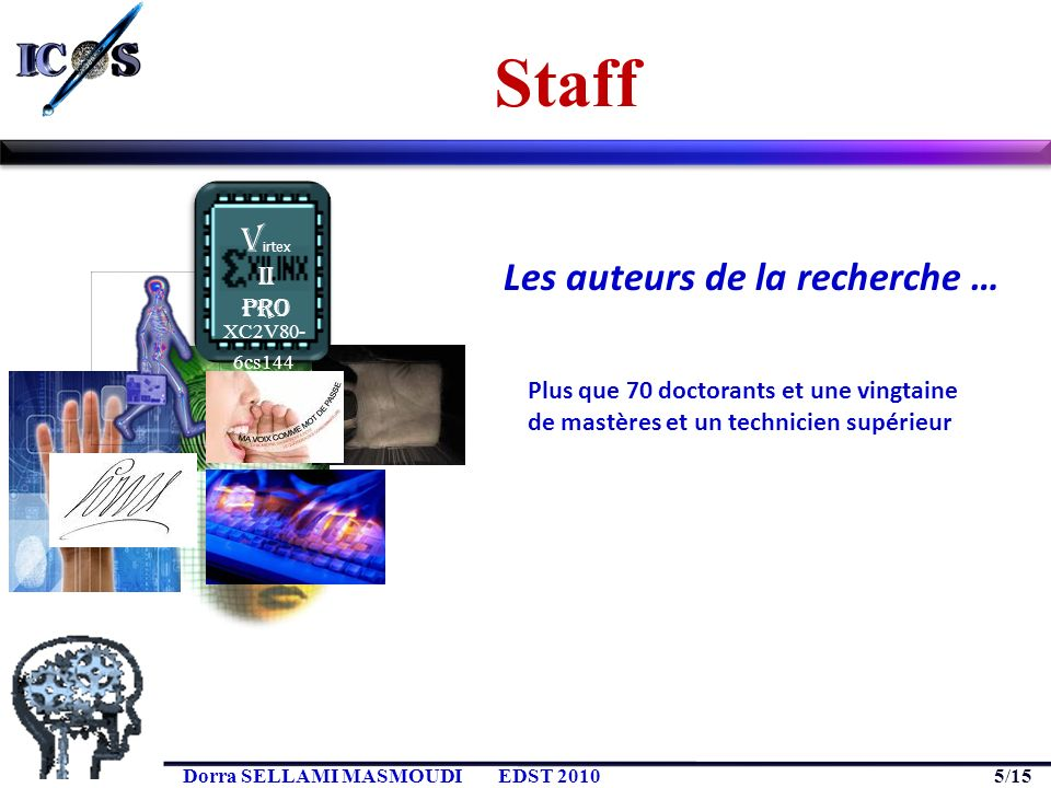 5/15 Dorra SELLAMI MASMOUDIEDST 2010 Staff XC2V80- 6cs144 V irtex II Pro Plus que 70 doctorants et une vingtaine de mastères et un technicien supérieu