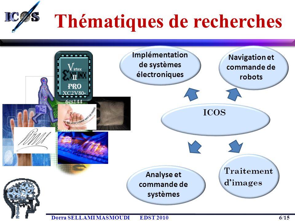 6/15 Dorra SELLAMI MASMOUDIEDST 2010 Thématiques de recherches XC2V80- 6cs144 V irtex II Pro Implémentation de systèmes électroniques ICOS dimages Nav