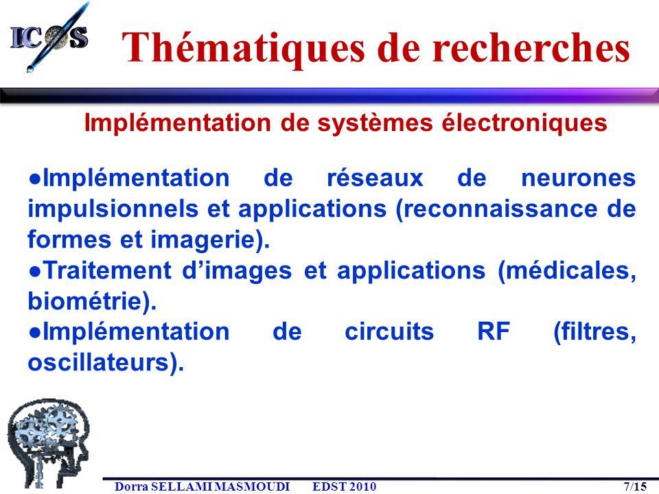 7/15 Dorra SELLAMI MASMOUDIEDST 2010 Implémentation de réseaux de neurones impulsionnels et applications (reconnaissance de formes et imagerie). Trait