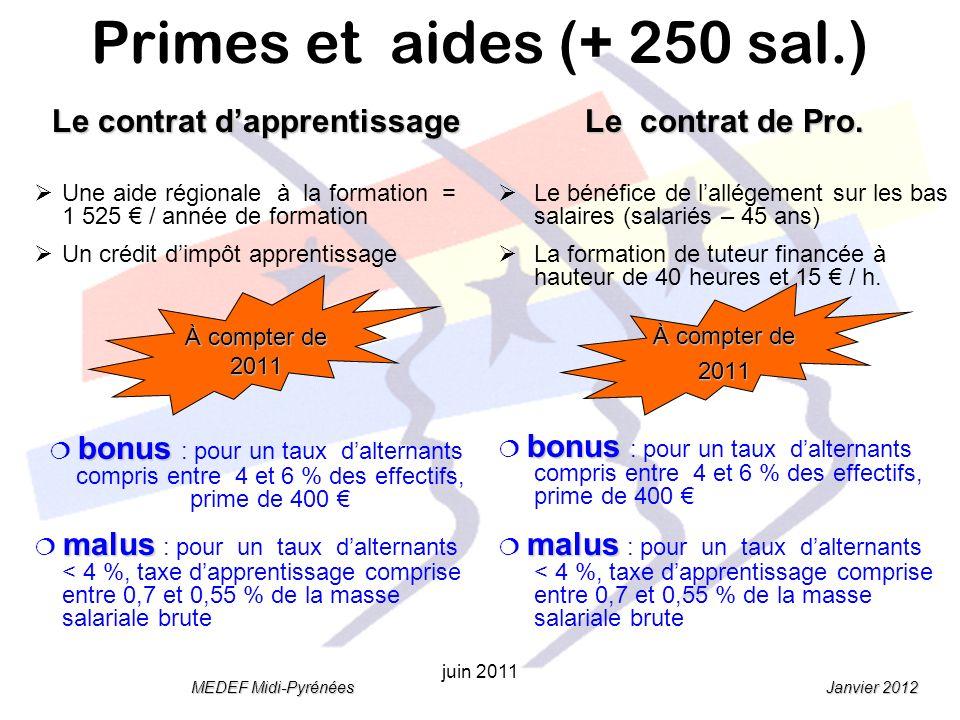 Janvier 2012 MEDEF Midi-Pyrénées juin 2011 Le contrat dapprentissage Une aide régionale à la formation = 1 525 / année de formation Un crédit dimpôt apprentissage À compter de 2011 bonus bonus : pour un taux dalternants compris entre 4 et 6 % des effectifs, prime de 400 malus malus : pour un taux dalternants < 4 %, taxe dapprentissage comprise entre 0,7 et 0,55 % de la masse salariale brute Le contrat de Pro.