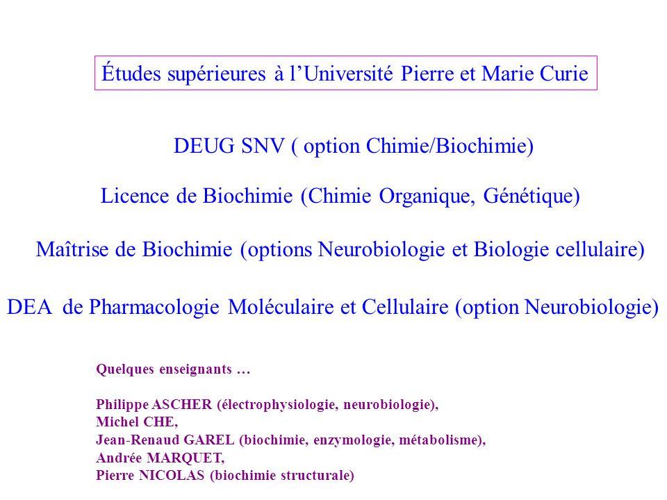 Études supérieures à lUniversité Pierre et Marie Curie DEUG SNV ( option Chimie/Biochimie) Licence de Biochimie (Chimie Organique, Génétique) Maîtrise