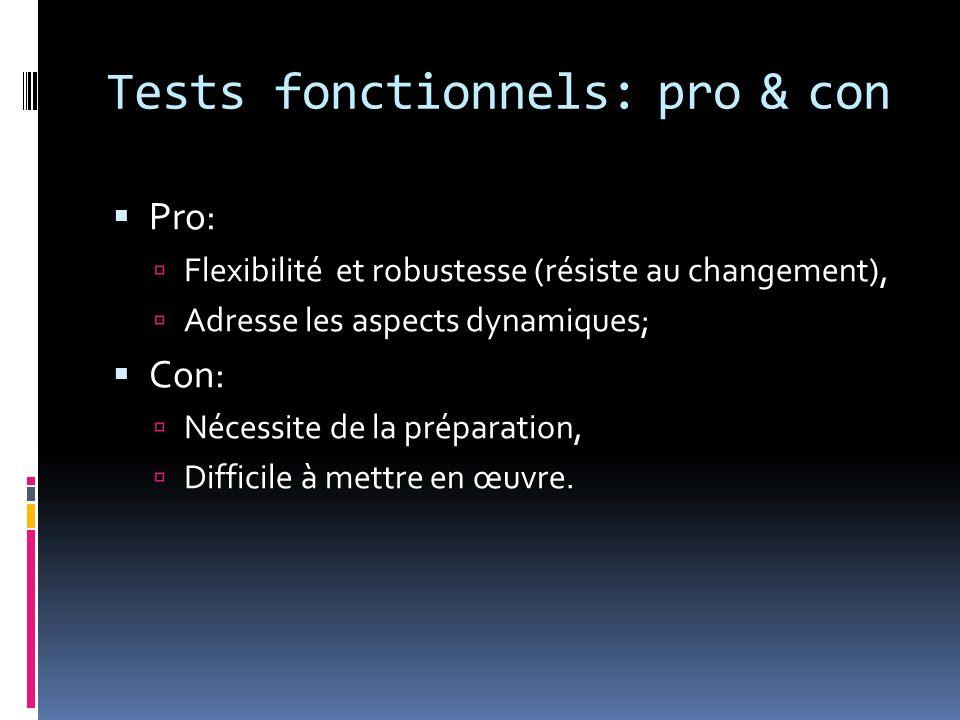 Tests fonctionnels: pro & con Pro: Flexibilité et robustesse (résiste au changement), Adresse les aspects dynamiques; Con: Nécessite de la préparation, Difficile à mettre en œuvre.