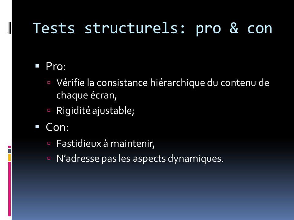 Tests structurels: pro & con Pro: Vérifie la consistance hiérarchique du contenu de chaque écran, Rigidité ajustable; Con: Fastidieux à maintenir, Nadresse pas les aspects dynamiques.