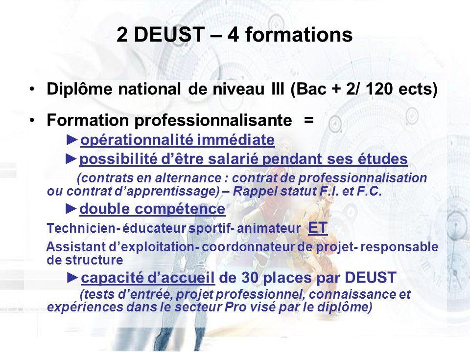 2 DEUST – 4 formations Diplôme national de niveau III (Bac + 2/ 120 ects) Formation professionnalisante = opérationnalité immédiate possibilité dêtre