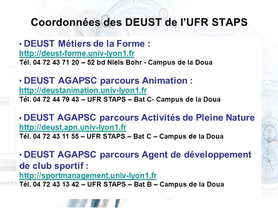 Coordonnées des DEUST de lUFR STAPS DEUST Métiers de la Forme : http://deust-forme.univ-lyon1.fr Tél. 04 72 43 71 20 – 52 bd Niels Bohr - Campus de la