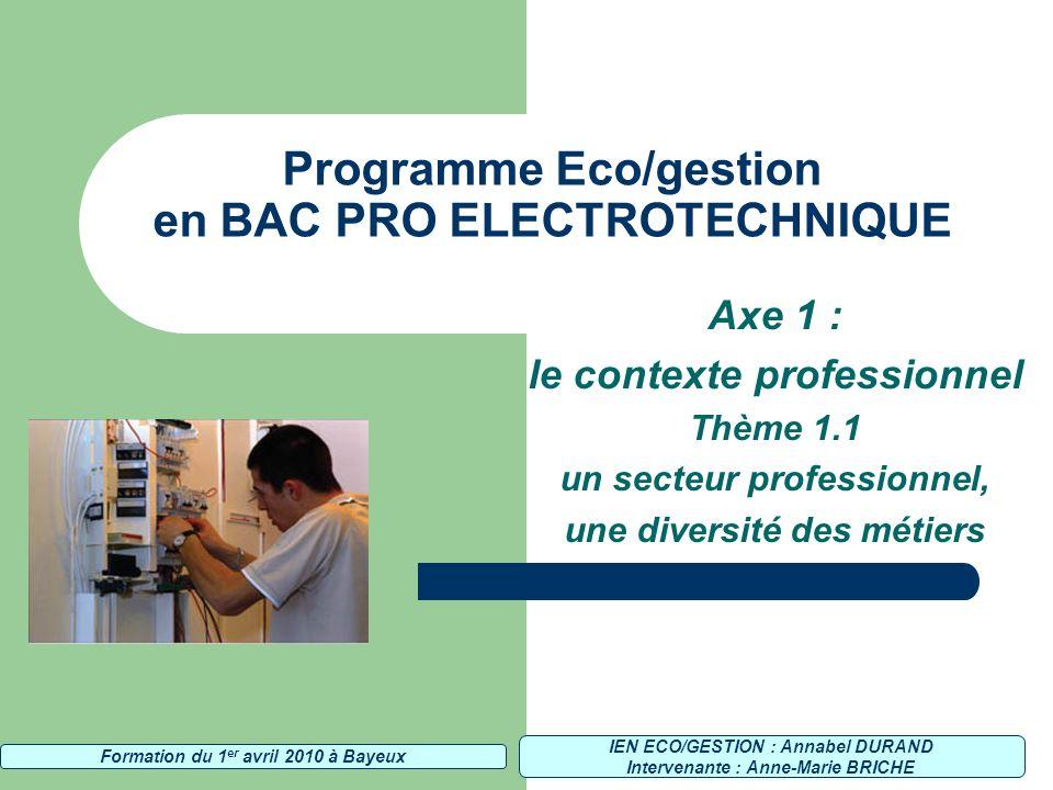 Programme Eco/gestion en BAC PRO ELECTROTECHNIQUE Axe 1 : le contexte professionnel Thème 1.1 un secteur professionnel, une diversité des métiers IEN