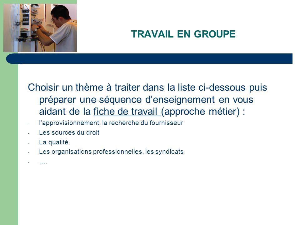 TRAVAIL EN GROUPE Choisir un thème à traiter dans la liste ci-dessous puis préparer une séquence denseignement en vous aidant de la fiche de travail (