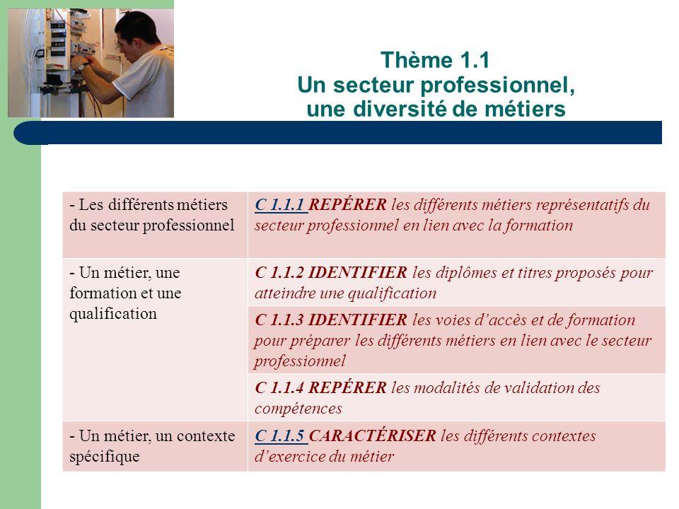 Thème 1.1 Un secteur professionnel, une diversité de métiers - Les différents métiers du secteur professionnel C 1.1.1 C 1.1.1 REPÉRER les différents