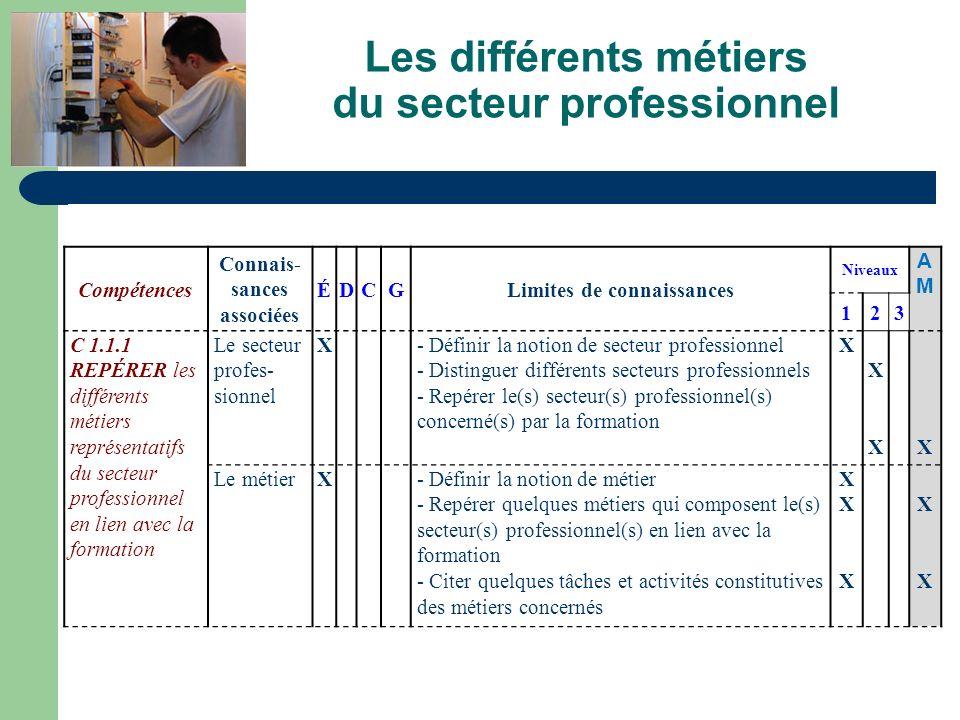 Les différents métiers du secteur professionnel Compétences Connais- sances associées ÉDCGLimites de connaissances Niveaux AMAM 123 C 1.1.1 REPÉRER le