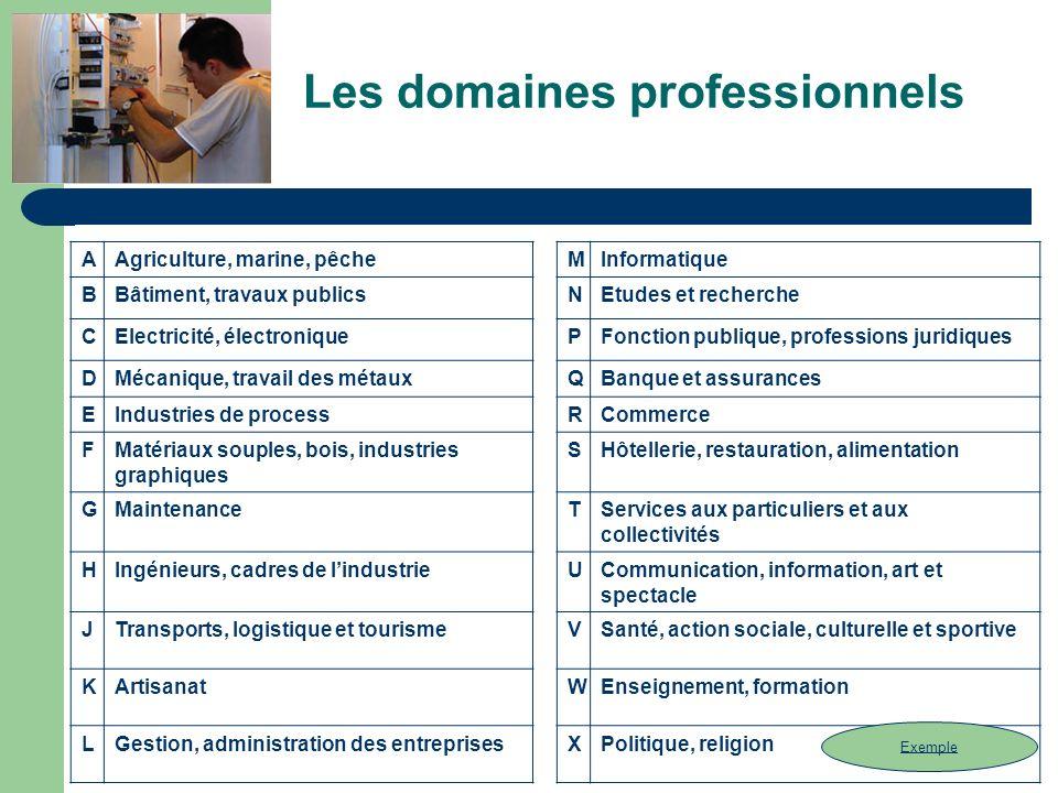 Les domaines professionnels AAgriculture, marine, pêcheMInformatique BBâtiment, travaux publicsNEtudes et recherche CElectricité, électroniquePFonctio