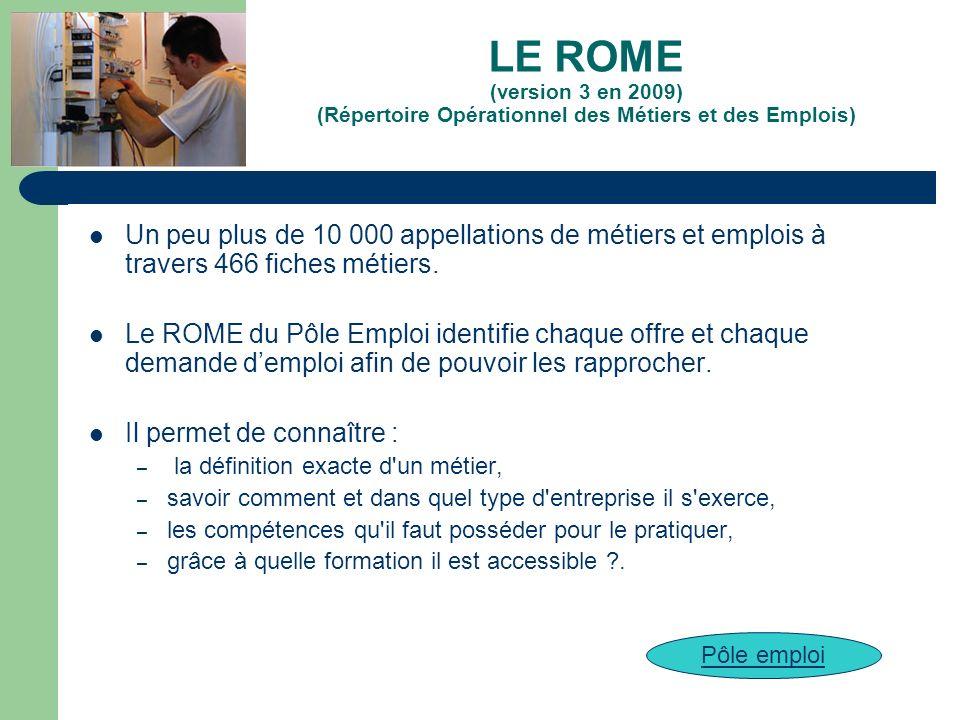 LE ROME (version 3 en 2009) (Répertoire Opérationnel des Métiers et des Emplois) Un peu plus de 10 000 appellations de métiers et emplois à travers 46