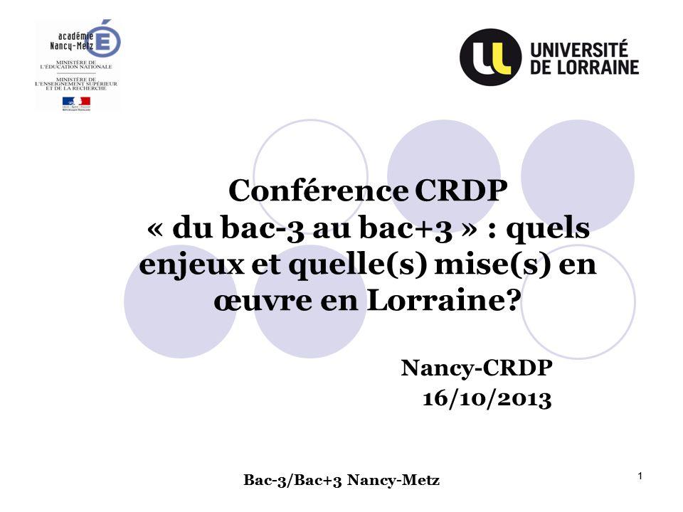 Bac-3/Bac+3 Nancy-Metz 1 1 Conférence CRDP « du bac-3 au bac+3 » : quels enjeux et quelle(s) mise(s) en œuvre en Lorraine? Nancy-CRDP 16/10/2013