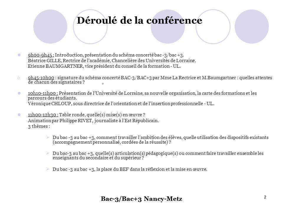 Bac-3/Bac+3 Nancy-Metz 2 2 Déroulé de la conférence 9h00-9h45 : Introduction, présentation du schéma concerté bac -3/bac +3. Béatrice GILLE, Rectrice