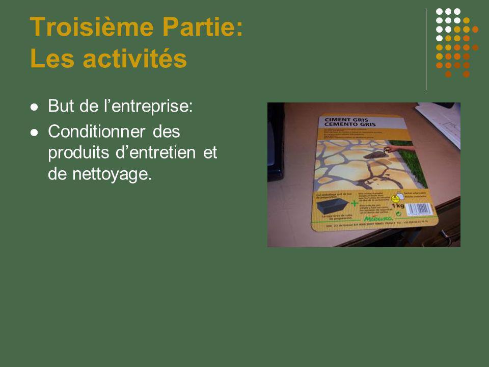 Troisième Partie: Les activités But de lentreprise: Conditionner des produits dentretien et de nettoyage.