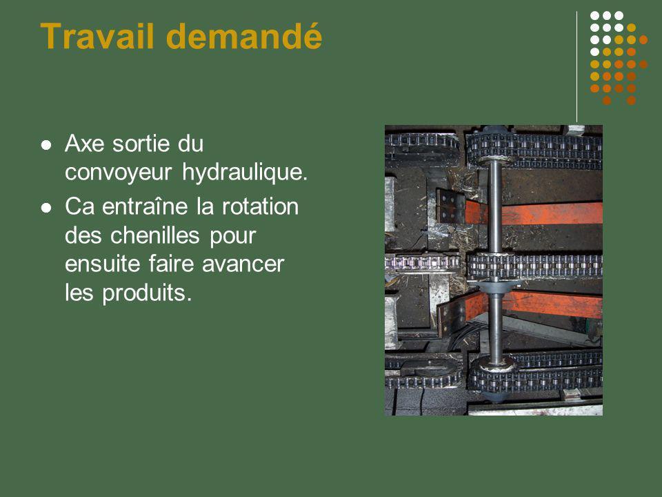 Travail demandé Axe sortie du convoyeur hydraulique. Ca entraîne la rotation des chenilles pour ensuite faire avancer les produits.