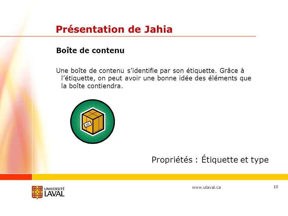 www.ulaval.ca 10 Présentation de Jahia Boîte de contenu Une boîte de contenu sidentifie par son étiquette. Grâce à létiquette, on peut avoir une bonne