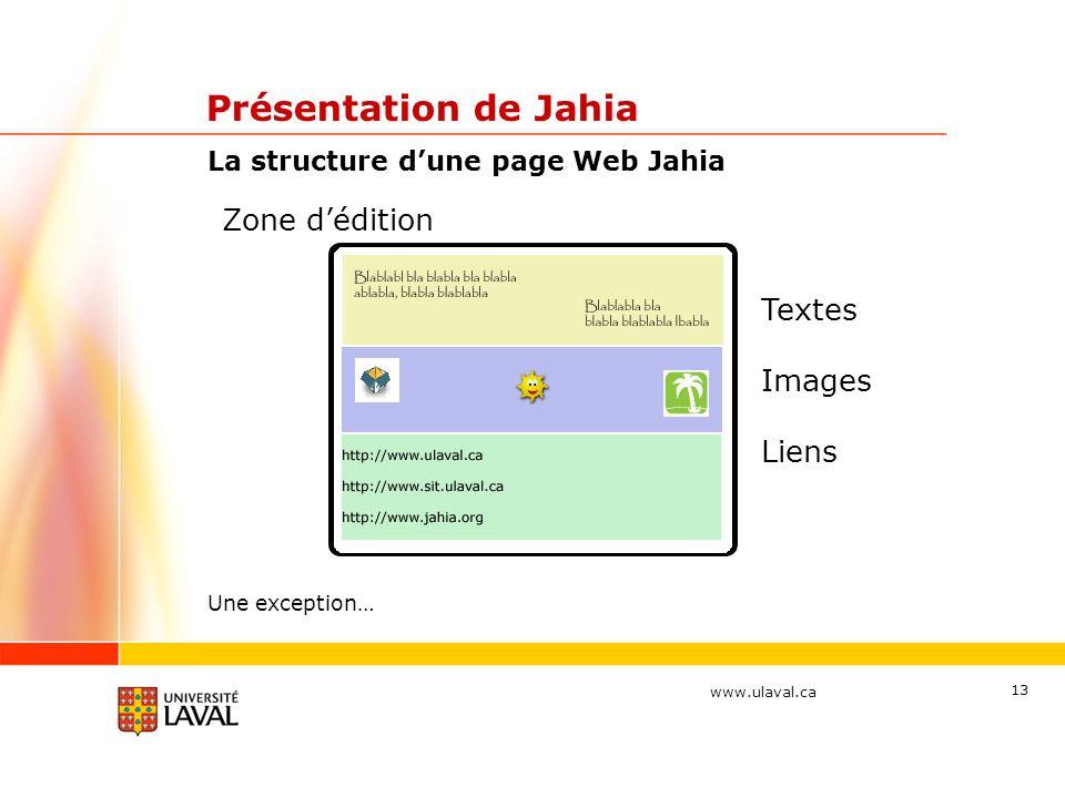 www.ulaval.ca 13 Présentation de Jahia La structure dune page Web Jahia Zone dédition Textes Images Liens Une exception…