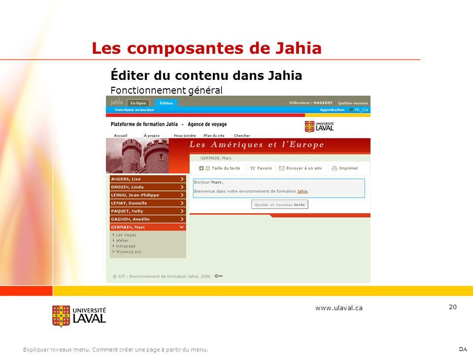 www.ulaval.ca 20 Éditer du contenu dans Jahia Fonctionnement général Les composantes de Jahia DA Expliquer niveaux menu. Comment créer une page à part