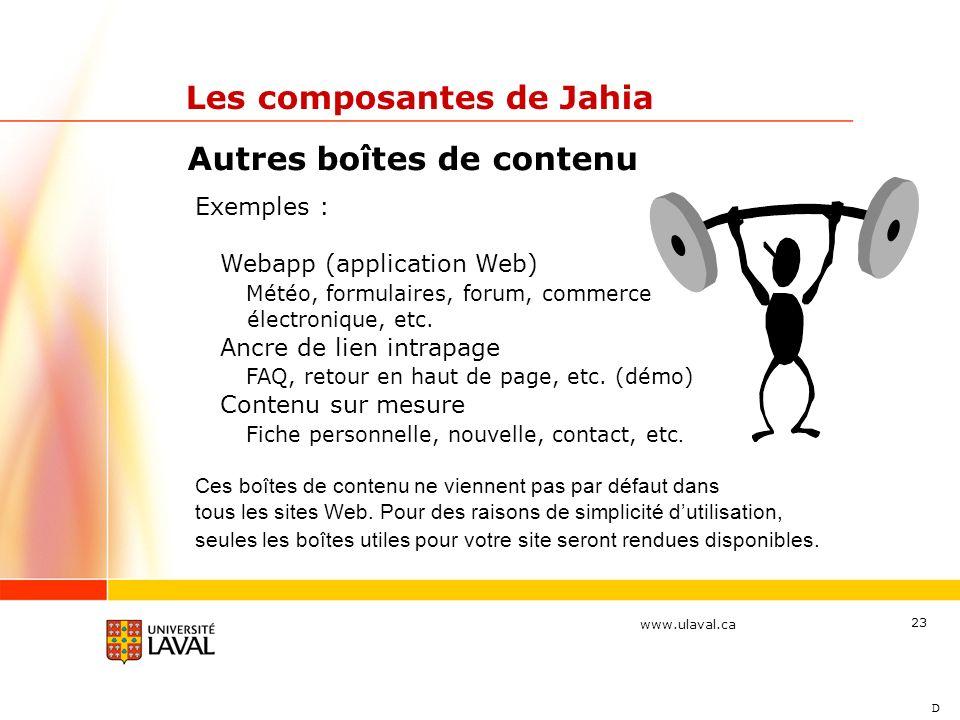www.ulaval.ca 23 Autres boîtes de contenu Les composantes de Jahia Exemples : Webapp (application Web) Météo, formulaires, forum, commerce électroniqu