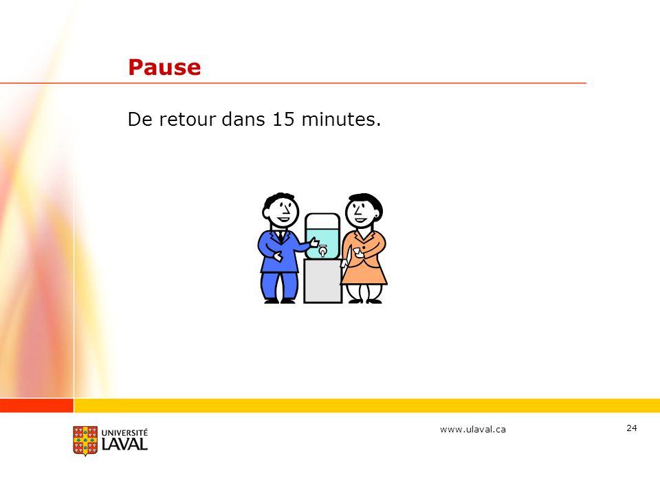 www.ulaval.ca 24 Pause De retour dans 15 minutes.