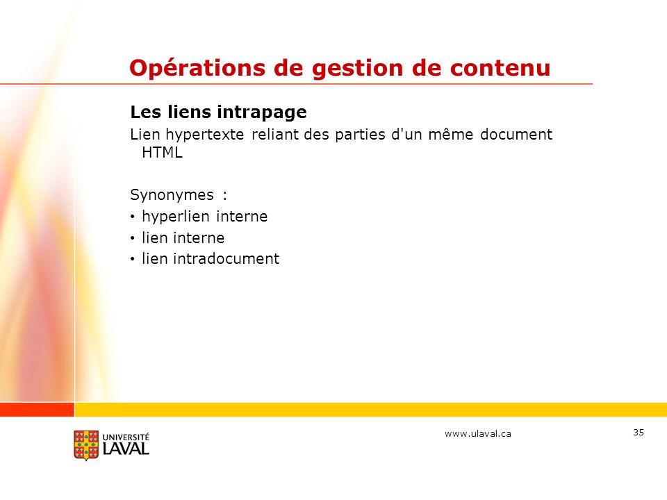 www.ulaval.ca 35 Opérations de gestion de contenu Les liens intrapage Lien hypertexte reliant des parties d'un même document HTML Synonymes : hyperlie