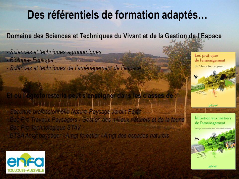 Mais des contenus à enseigner aux professeurs Formations continues proposées au Plan National de Formation 2010 : 1- Les systèmes agroforestiers, un outil de gestion pour les espaces ruraux.