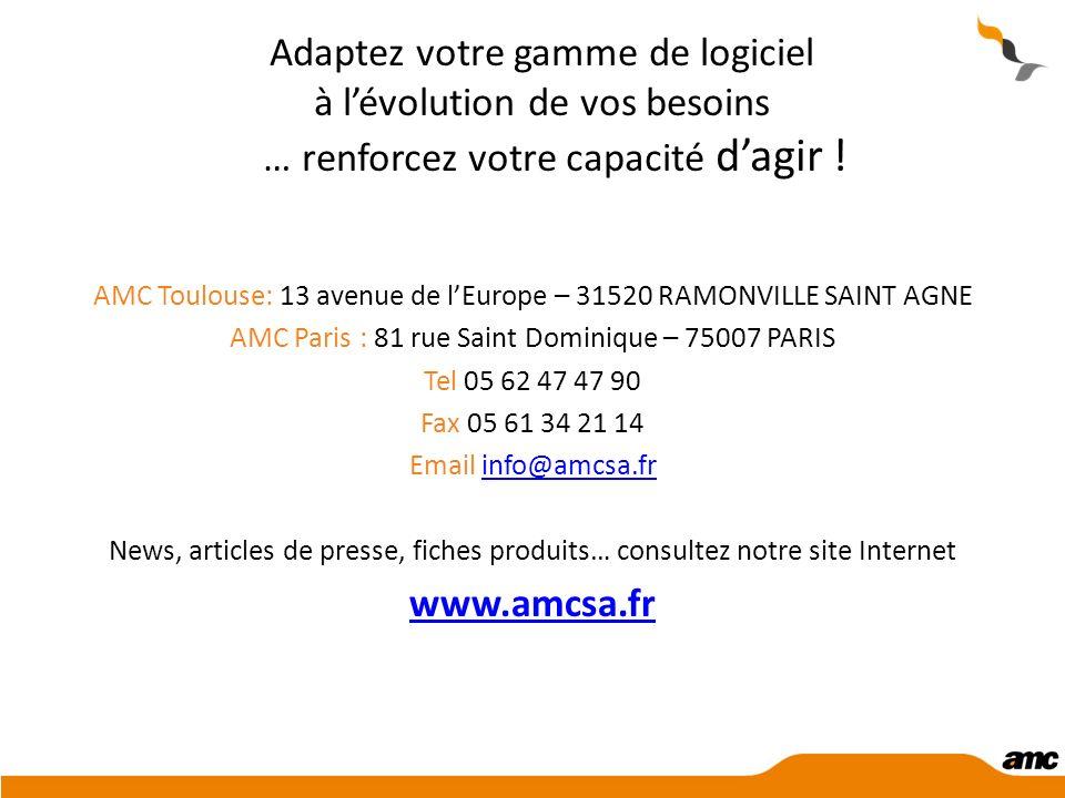 Adaptez votre gamme de logiciel à lévolution de vos besoins … renforcez votre capacité dagir ! AMC Toulouse: 13 avenue de lEurope – 31520 RAMONVILLE S