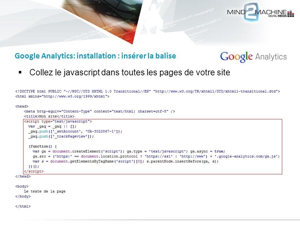 Collez le javascript dans toutes les pages de votre site Google Analytics: installation : insérer la balise