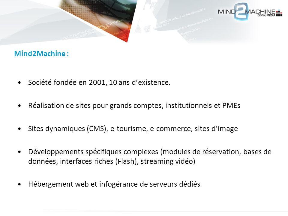 Société fondée en 2001, 10 ans dexistence. Réalisation de sites pour grands comptes, institutionnels et PMEs Sites dynamiques (CMS), e-tourisme, e-com