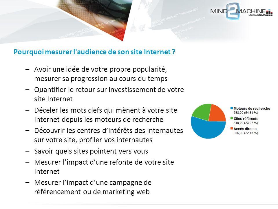 –Avoir une idée de votre propre popularité, mesurer sa progression au cours du temps –Quantifier le retour sur investissement de votre site Internet –