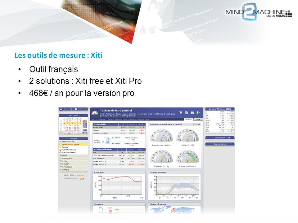 Outil français 2 solutions : Xiti free et Xiti Pro 468 / an pour la version pro Les outils de mesure : Xiti