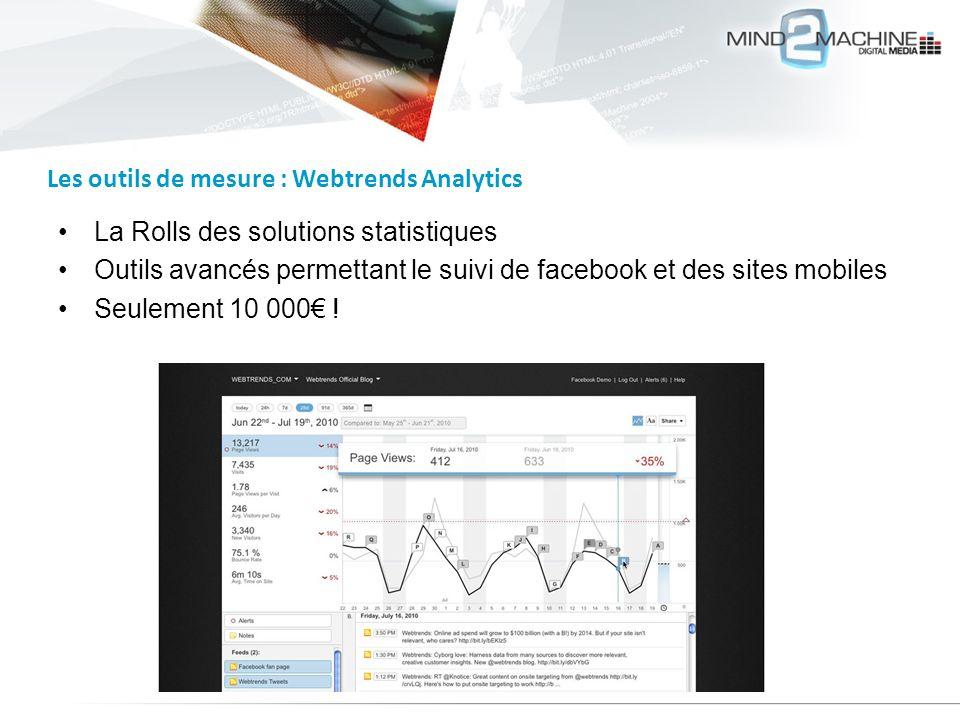 La Rolls des solutions statistiques Outils avancés permettant le suivi de facebook et des sites mobiles Seulement 10 000 ! Les outils de mesure : Webt