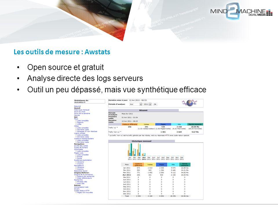 Open source et gratuit Analyse directe des logs serveurs Outil un peu dépassé, mais vue synthétique efficace Les outils de mesure : Awstats