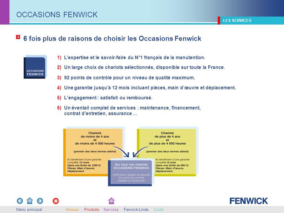 6 fois plus de raisons de choisir les Occasions Fenwick Menu principal 1) Lexpertise et le savoir-faire du N°1 français de la manutention. LES SERVICE