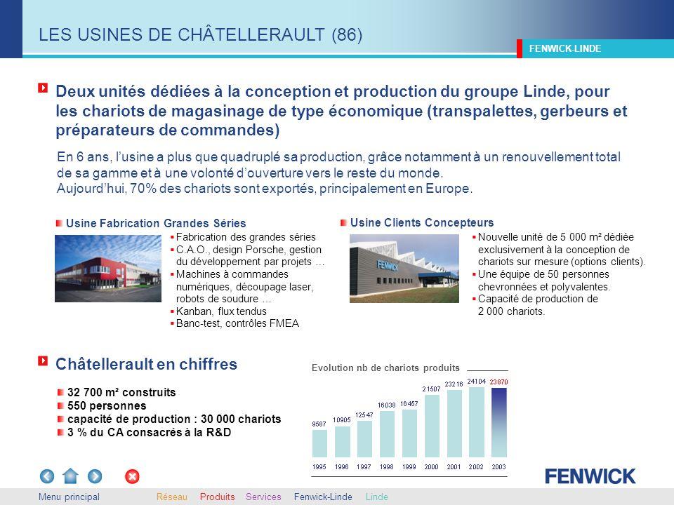 Menu principal Deux unités dédiées à la conception et production du groupe Linde, pour les chariots de magasinage de type économique (transpalettes, g