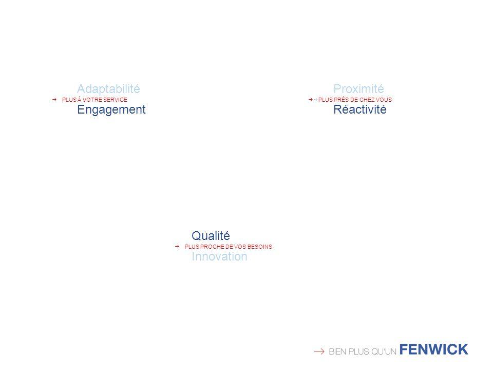 Proximité PLUS PRÈS DE CHEZ VOUS Réactivité Qualité PLUS PROCHE DE VOS BESOINS Innovation Adaptabilité PLUS À VOTRE SERVICE Engagement