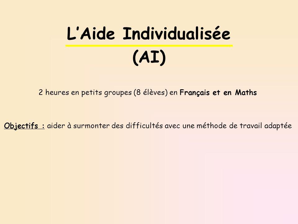 2 heures en petits groupes (8 élèves) en Français et en Maths Objectifs : aider à surmonter des difficultés avec une méthode de travail adaptée LAide