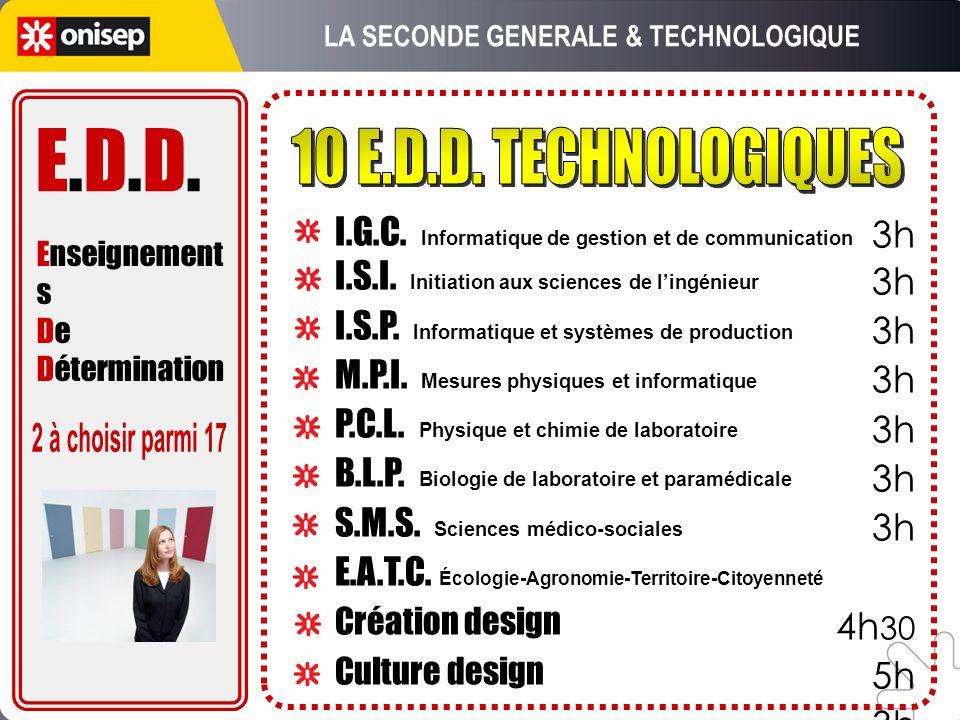 3h 4h 30 5h 3h I.G.C. Informatique de gestion et de communication I.S.I. Initiation aux sciences de lingénieur I.S.P. Informatique et systèmes de prod