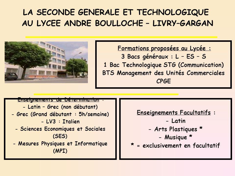 LA SECONDE GENERALE ET TECHNOLOGIQUE AU LYCEE ANDRE BOULLOCHE – LIVRY–GARGAN Enseignements de Détermination : - Latin – Grec (non débutant) - Grec (Gr