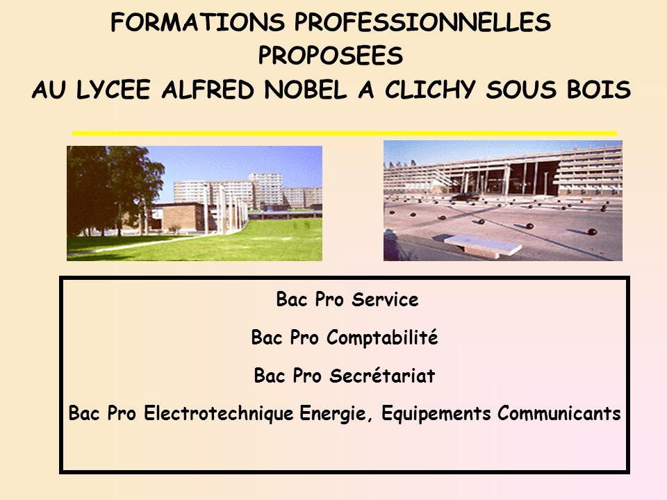FORMATIONS PROFESSIONNELLES PROPOSEES AU LYCEE ALFRED NOBEL A CLICHY SOUS BOIS Bac Pro Service Bac Pro Comptabilité Bac Pro Secrétariat Bac Pro Electr
