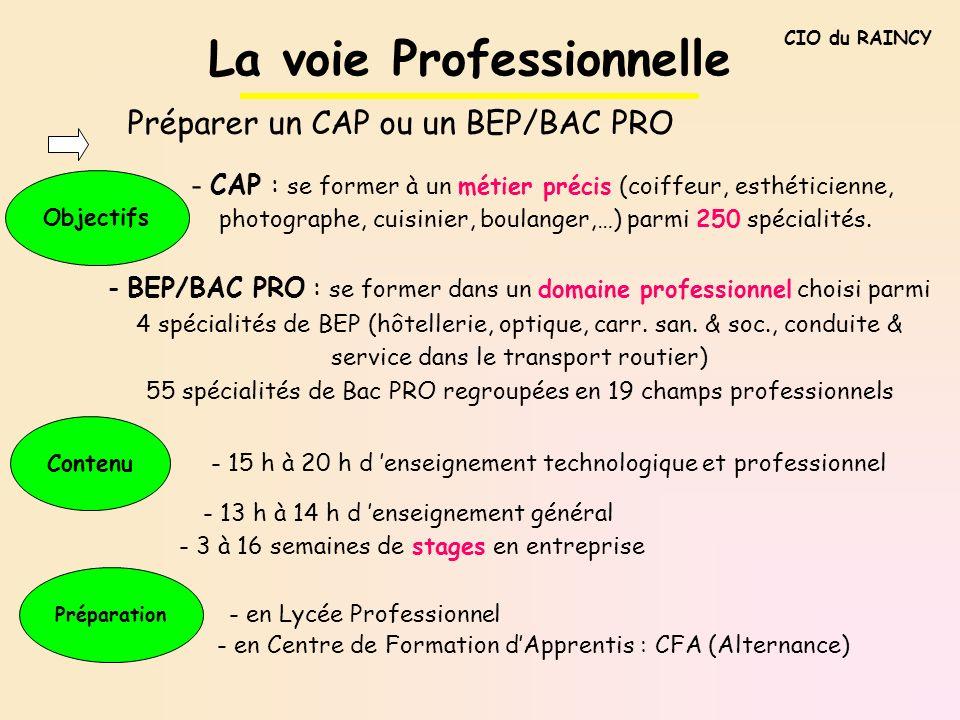 La voie Professionnelle Préparer un CAP ou un BEP/BAC PRO Objectifs - CAP : se former à un métier précis (coiffeur, esthéticienne, photographe, cuisin