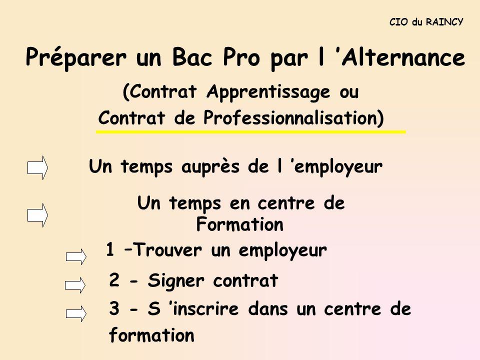 Préparer un Bac Pro par l Alternance Un temps auprès de l employeur Un temps en centre de Formation 1 - Trouver un employeur CIO du RAINCY (Contrat Ap